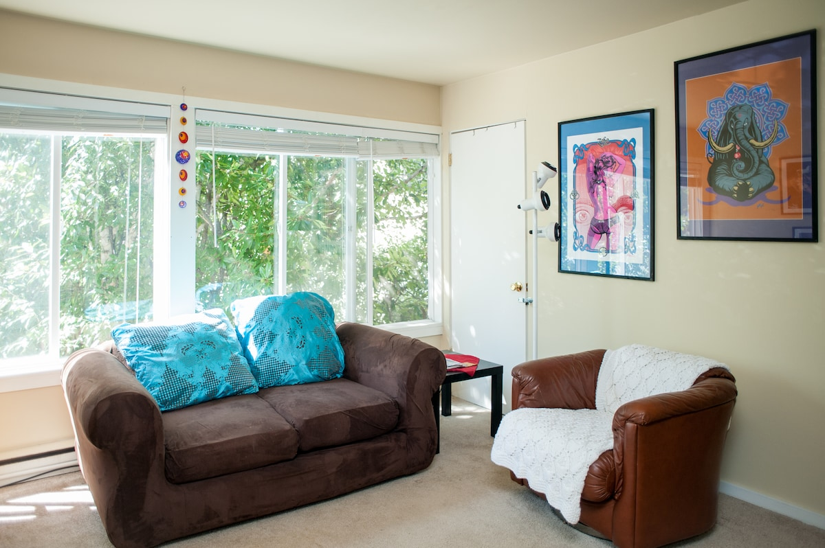 Huge windows in my bright 1-bedroom apartment