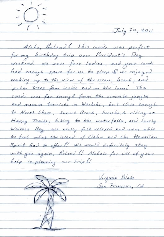 A nice letter from one of our guests.