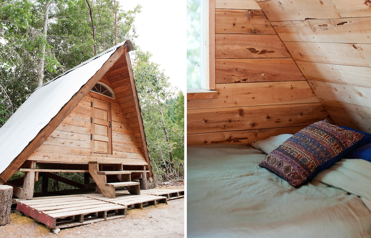 """""""A-Frame"""" Rustic Off-Grid Cabin"""