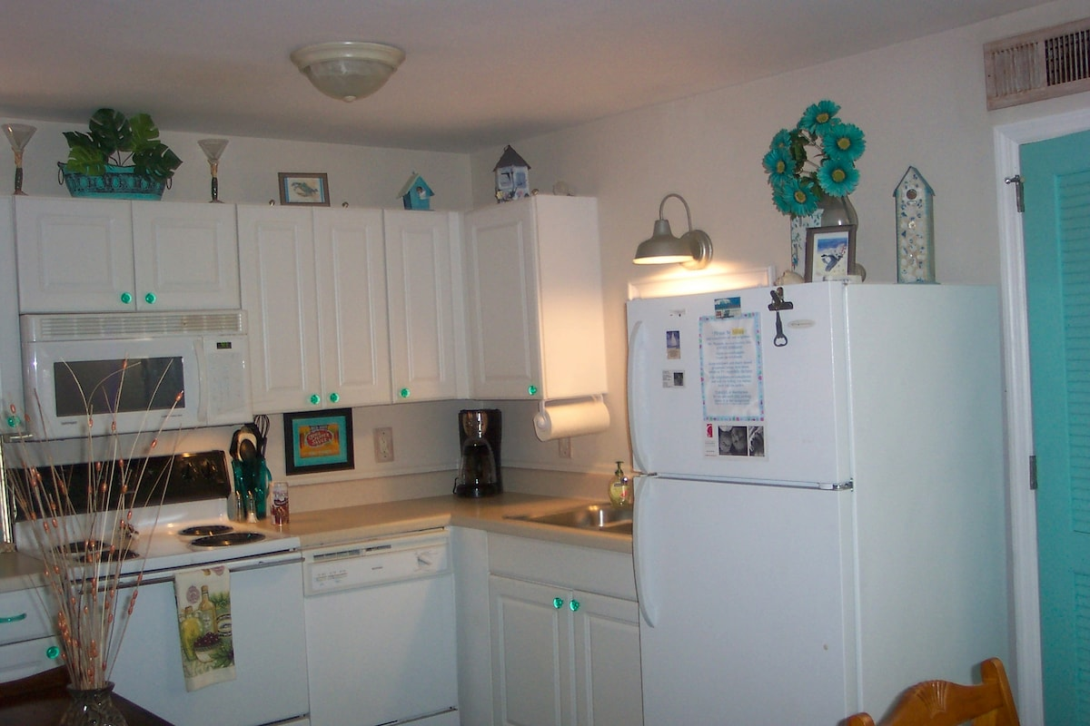 Kitchen has all cooking needs, inlc spices, high-end coffee maker, and more.