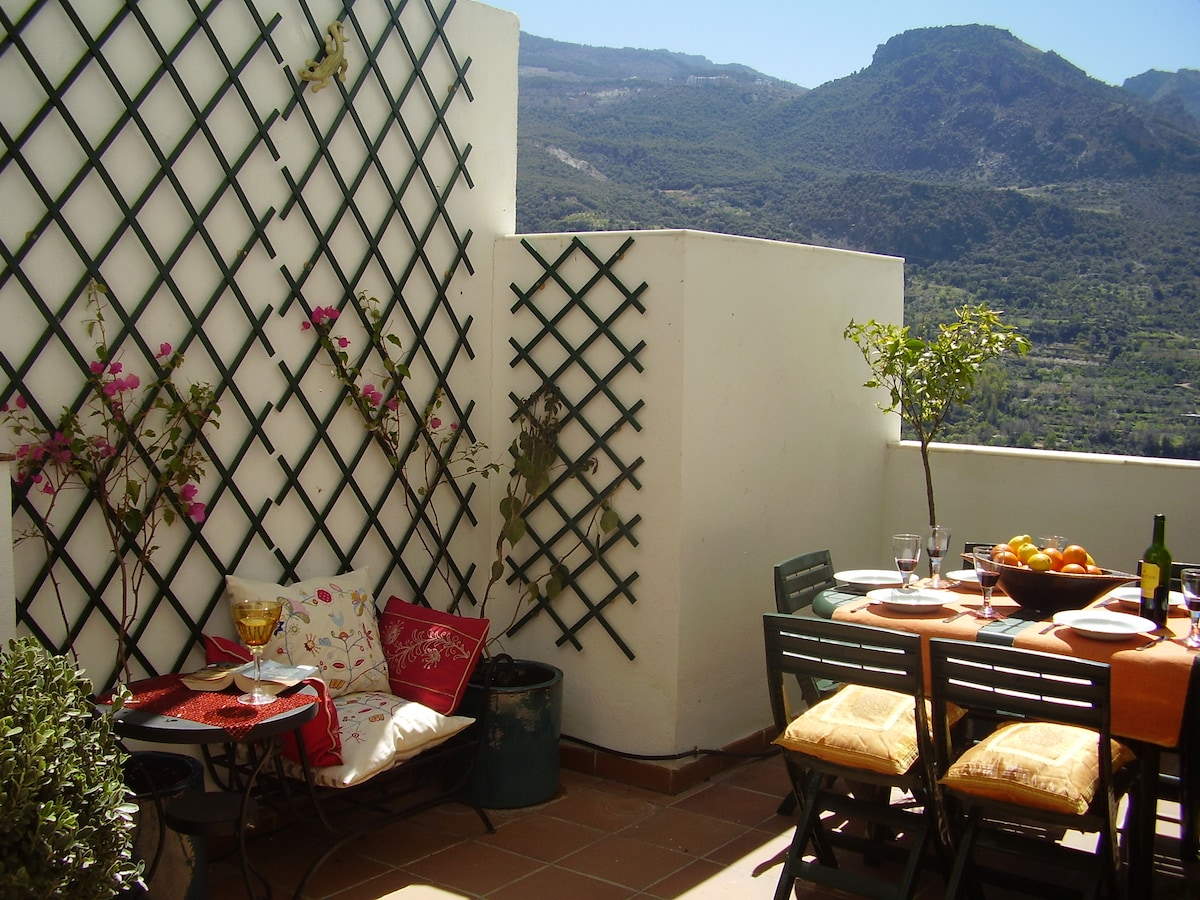 Well-equipped terrace with panoramic views of Granada's Sierra Nevada mountains.