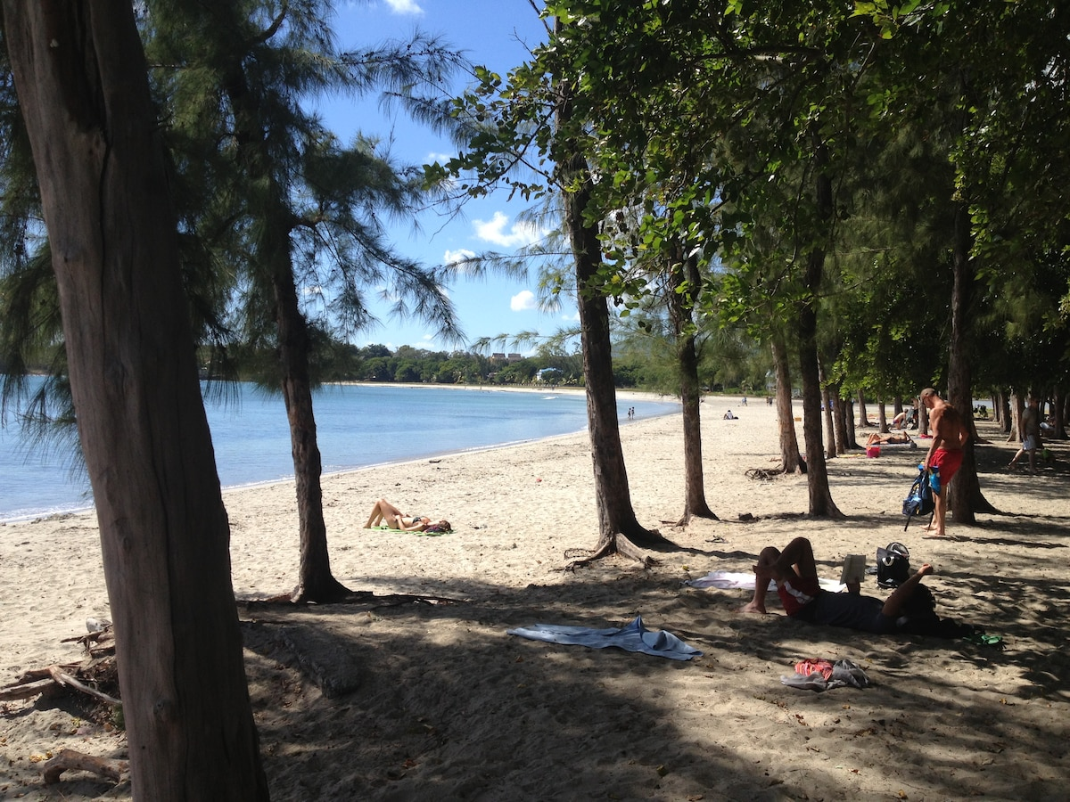 Relax on the beach or under the Filaos trees at Tamarin Bay