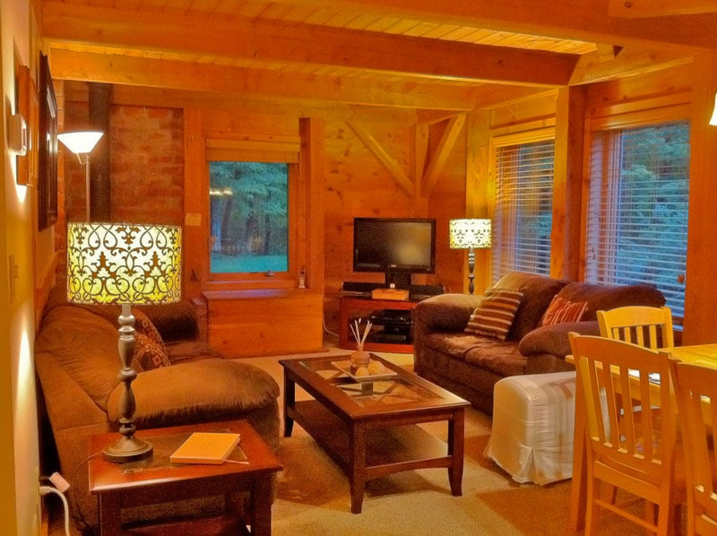Right Unit: Relax by the wood burning stove. We have WiFi, board games, cable TV, Blu-ray & Apple TV with Netflix to keep you entertained.