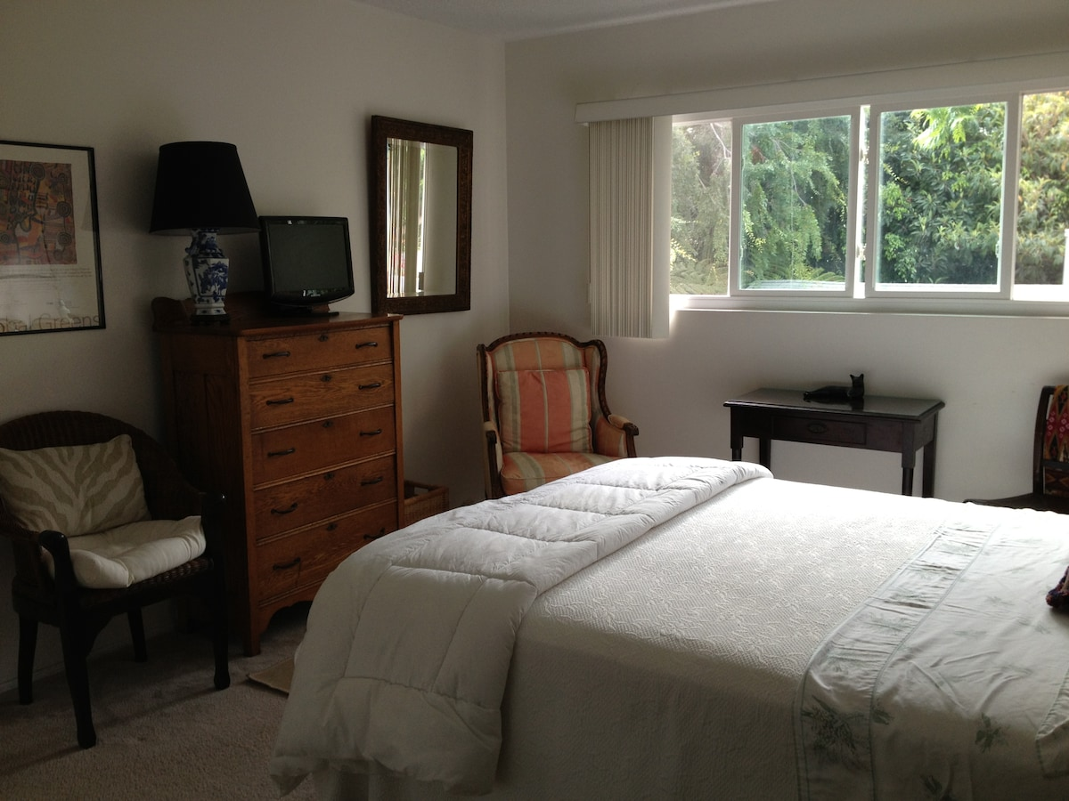 Guest room with TV, wireless, comfy armchair, blinds, desk. chest of drawers and more...spacious