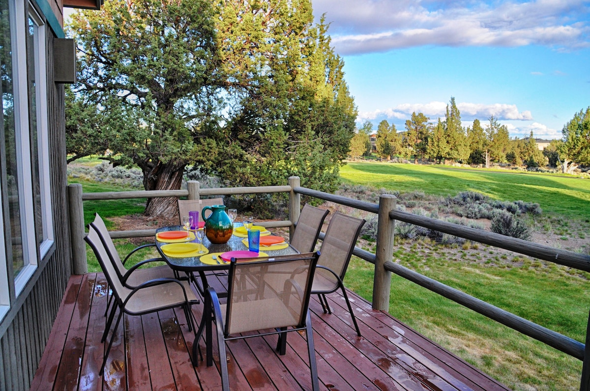 Unobstructed views with grassy areas to play in amongst ancient Juniper trees.