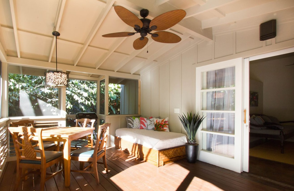 Walk onto your large screened porch where you can dine, grill dinner, curl up with a good book, or soak in the Jacuzzi tub in total privacy.