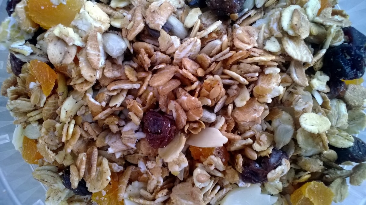 Mornings at the cabin. 6 rolled grains, nuts, seeds, dried berries and fruit, honey and a bit of coconut oil. Sugar? No sugar, none. That's Tanya's granola