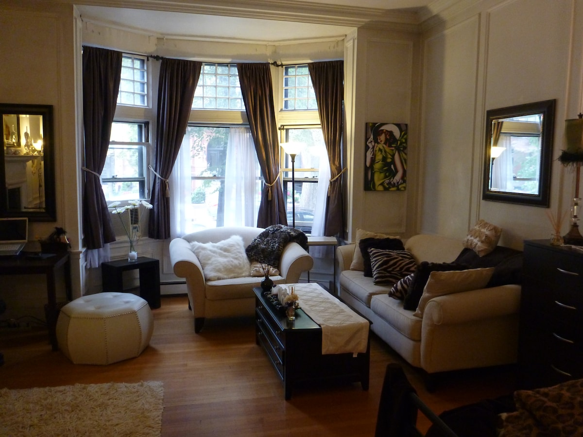 "Street-facing bay window (overlooking Marlborough St.), nearly 11"" high ceilings!"
