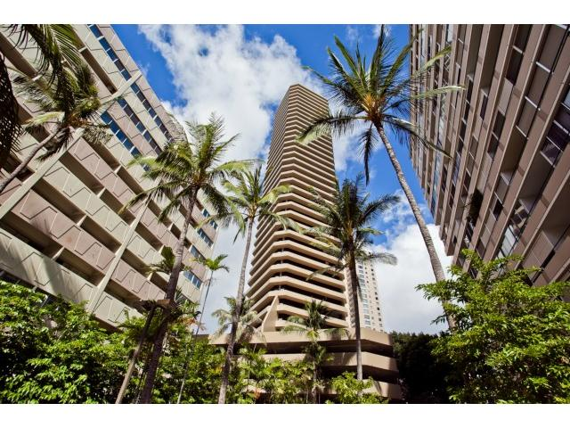 Boutique building with unique architectural features.  Waikiki Marina is across the best beaches