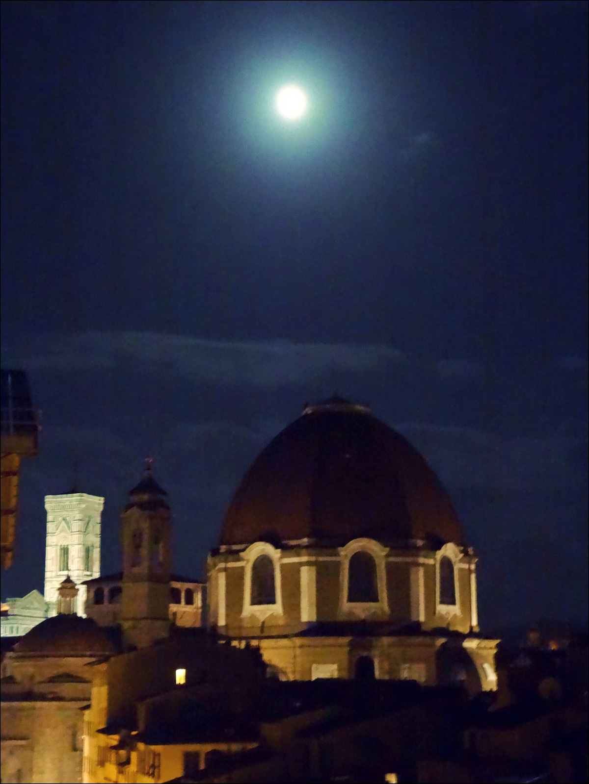 Night view from the windows: Campanile by Giotto, San Lorenzo church and Medici chapels