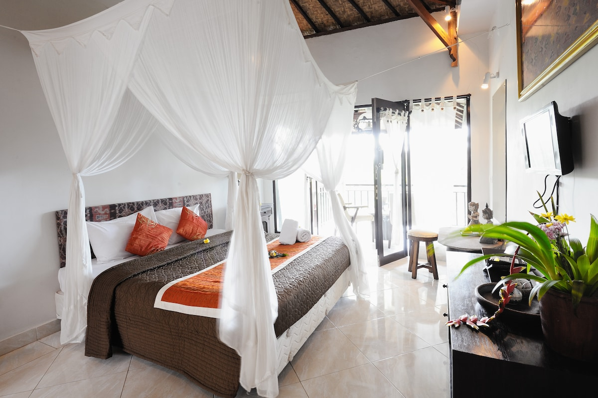 Terrace View room #1 at Mulawarman is very spacious with a  Balcony overlooking the ravine