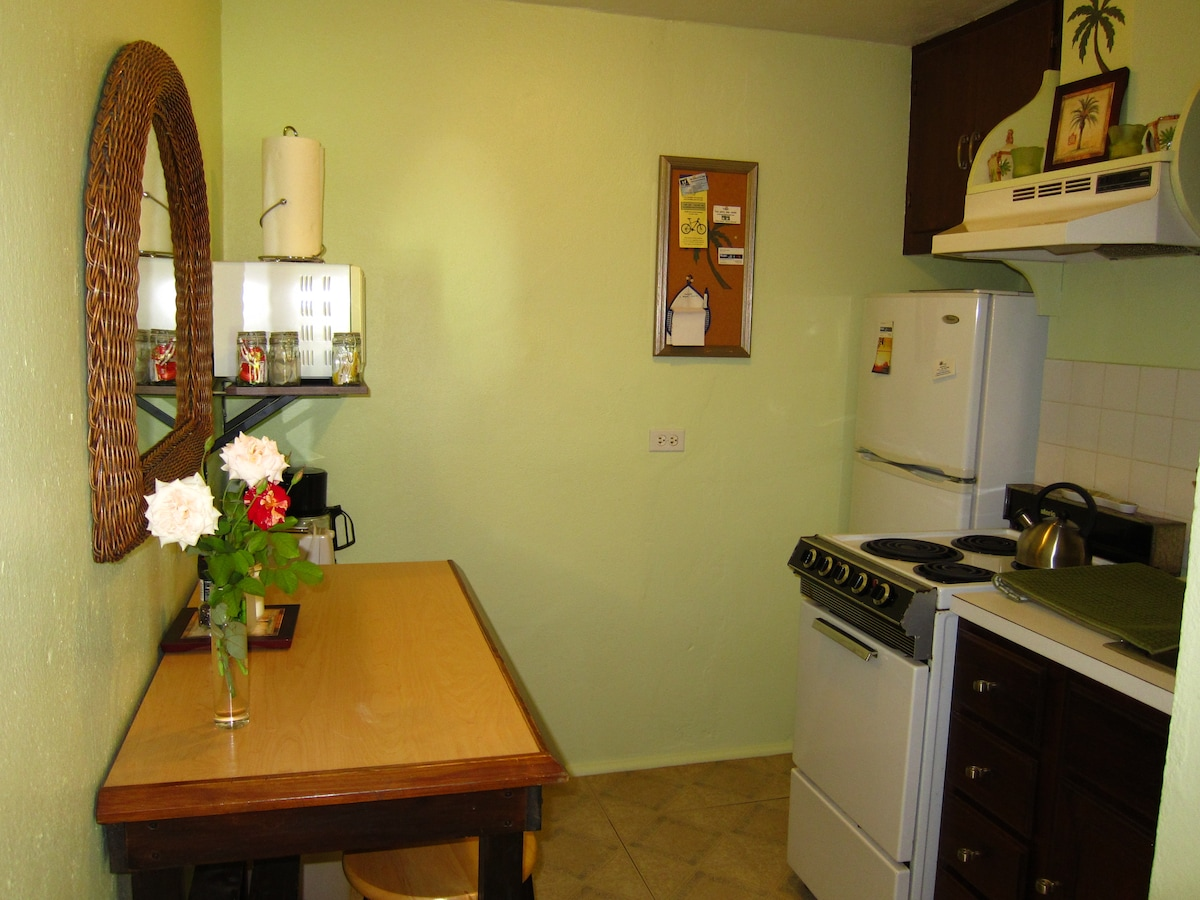 Kitchen with full size appliances, microwave, toaster, coffee maker etc