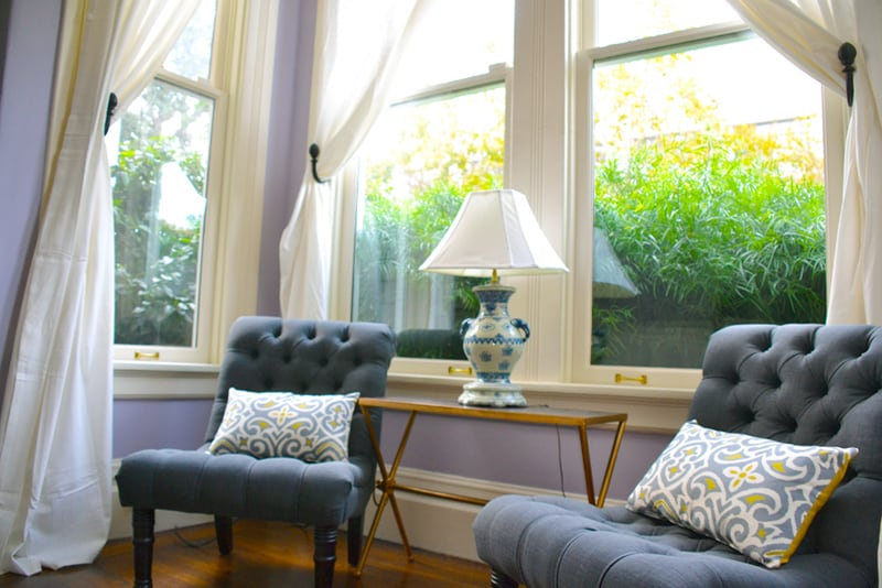 Lovely sitting area by the bay window in living room