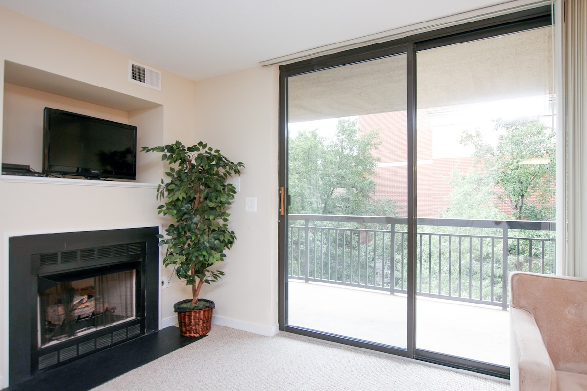 Gas fireplace available in select apartments