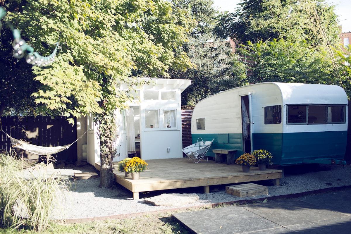 60's Camper and Backyard Bathhouse
