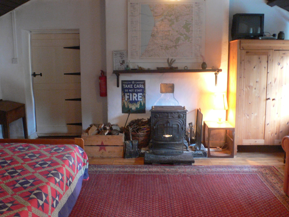 Looking from the Hallway to the lounge, there is a  double bed with new comfy mattress to the left and a wooden storage cupboard for blankets.  The log box is full when you arrive, and there is kindling as well.   The door goes out into the annexe area.