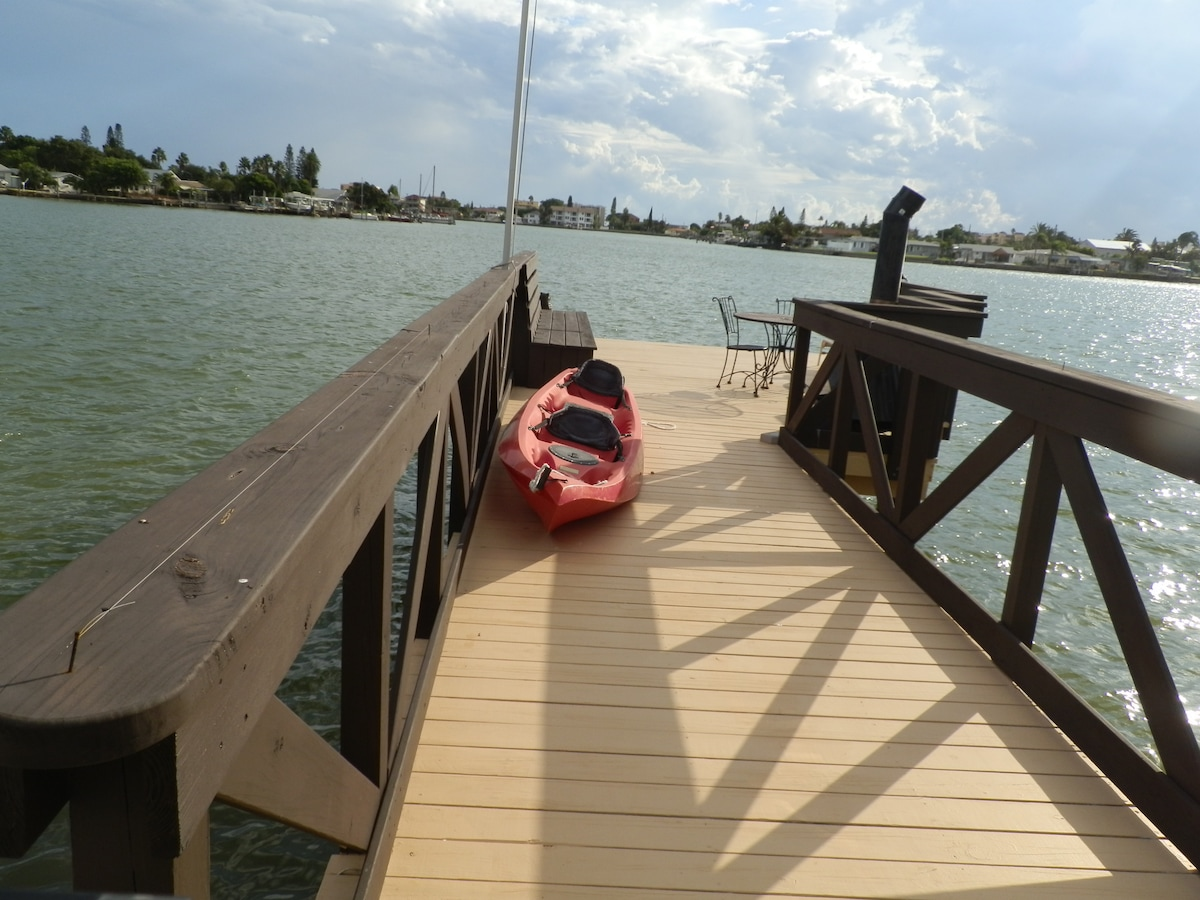 Dock with fireplace and kayak
