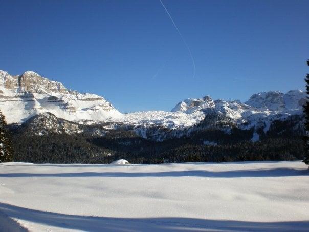 View over Dolomiti di Brenta and Grostè from Malga Zeledria