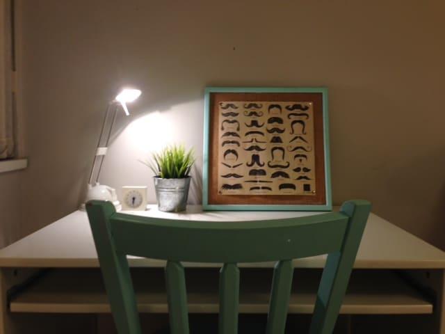 desk area in smaller room