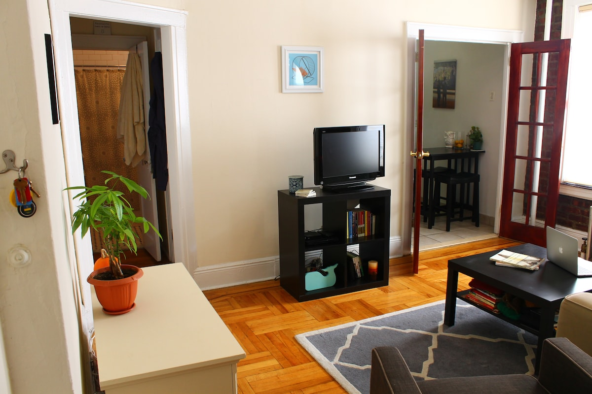 Entry hallway leads into living room