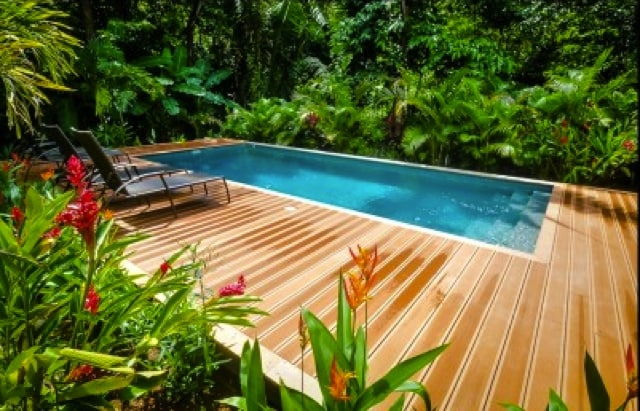 Amazing Poo with recycled bamboo decking. Truly an Oasis