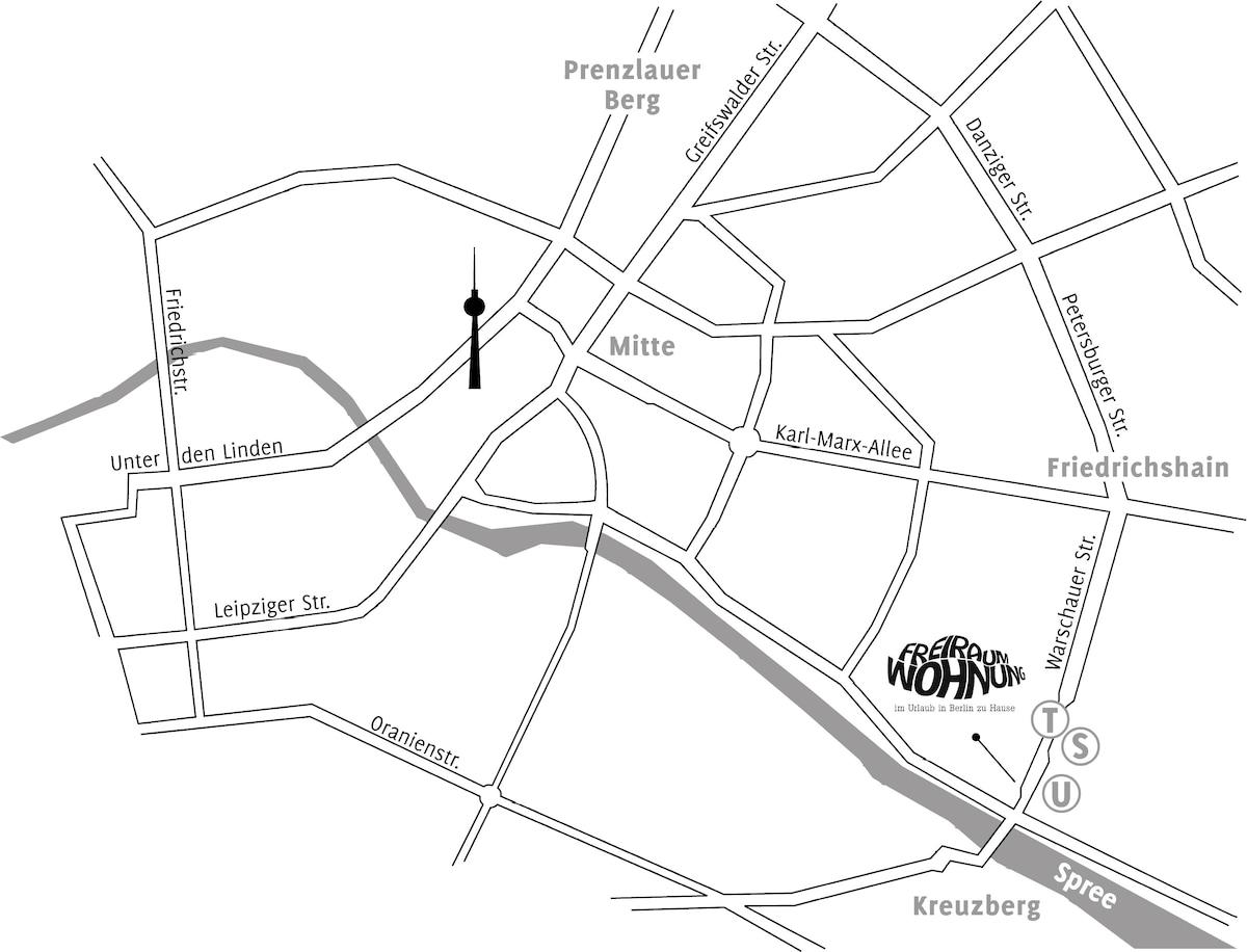 FREIRAUMWOHNUNG: Top-Lage an der Spree, O2 Wolrd, East Side Gallery, Oberbaumbrücke, S-U-Tram Station Warschauer Straße...