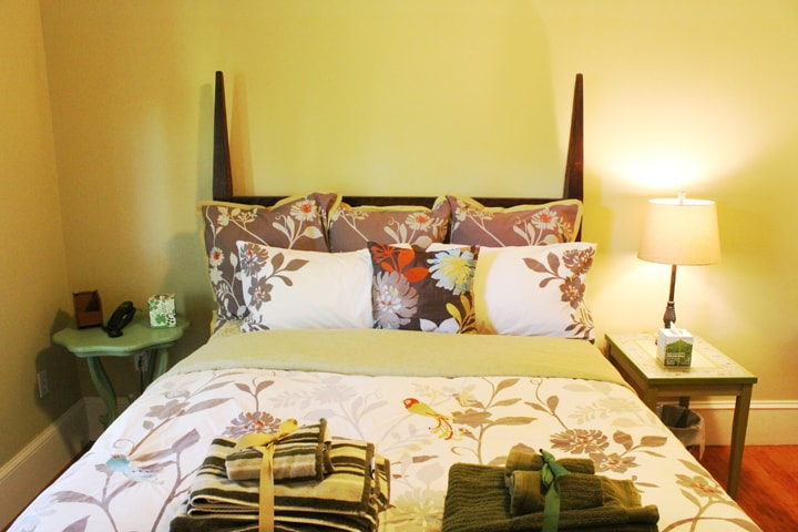 This is the nice, spacious Muir Woods Room at Derby Creek Guesthouse, with sleeping space for 3 (queen bed, twin futon).