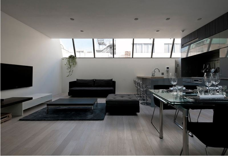 Windows to exterior are tinted making for a room full of light while providing privacy.