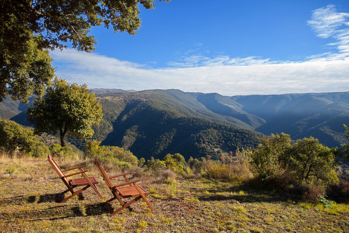 Private natural garden. Stunning views from Montseny Park.