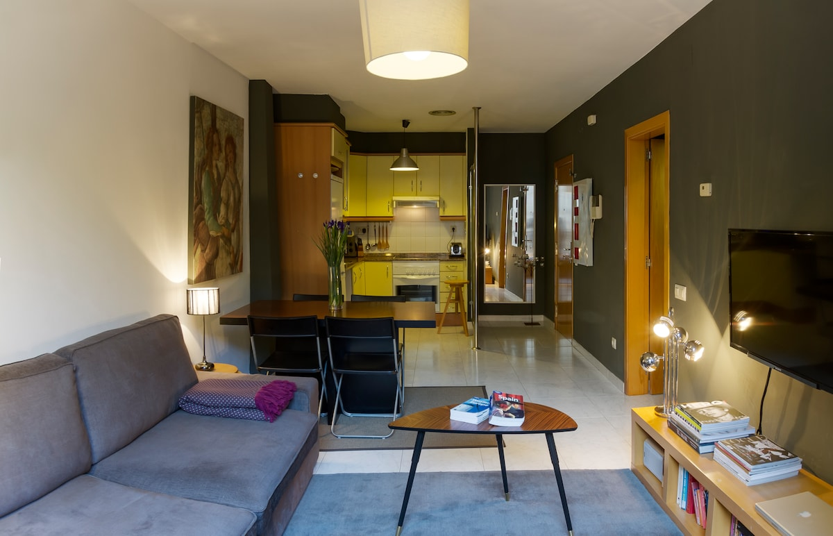 The apartment has wireless internet conection and is fully equipped with air conditioning and heating