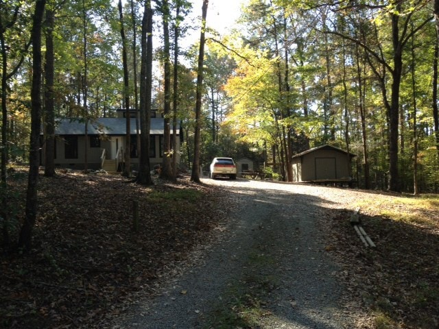 Driveway to cozy modern cabin retreat. Ample off- street parking.