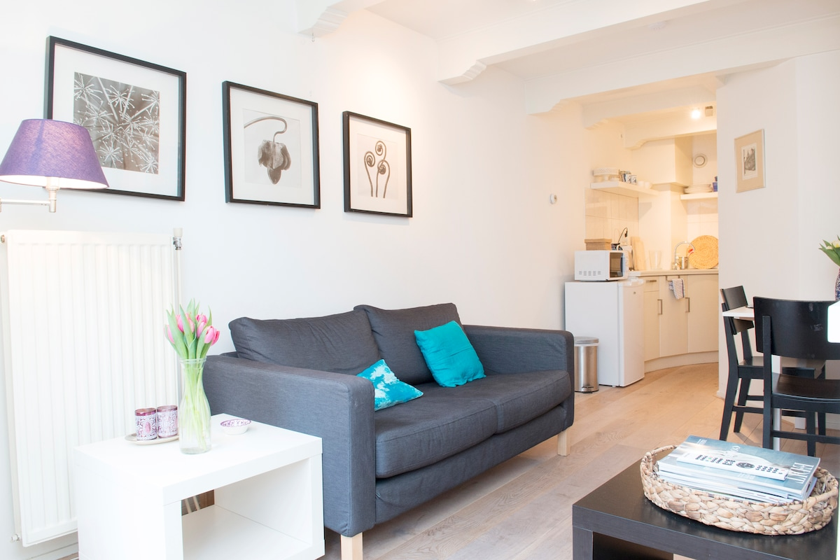 Very light comfortable cosy living room with beautiful sights on the 'Spuisquare'