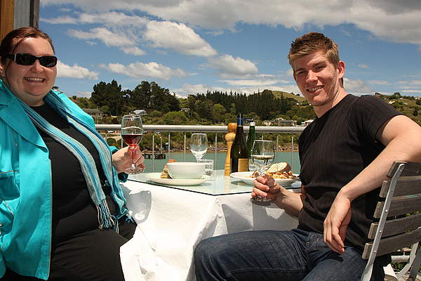 Your friendly hosts Nicky and Kaj enjoying a seafood lunch overlooking the water.