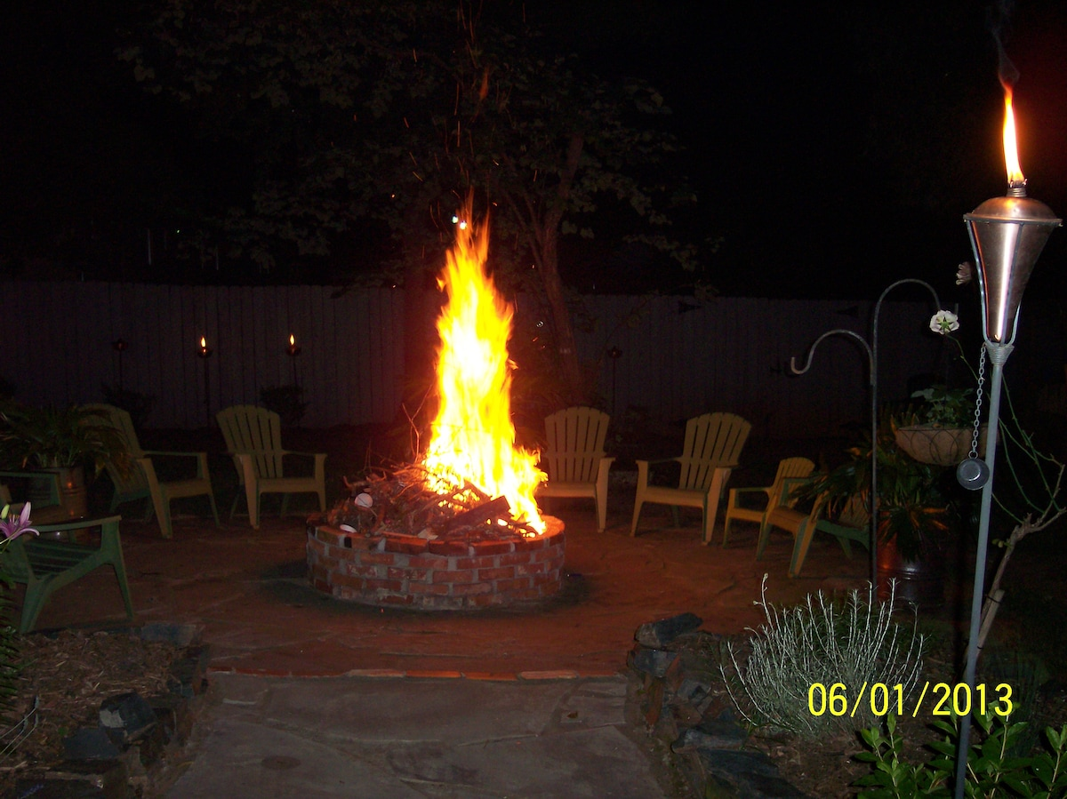 Warm up at the fire pit at night