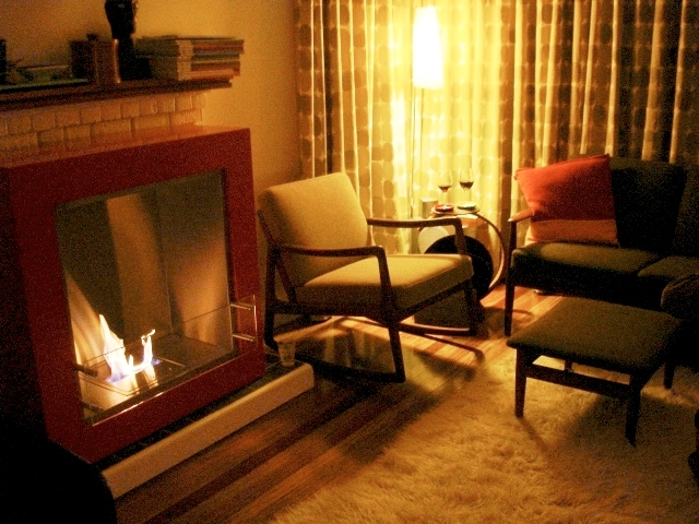 Wine, a rocking chair and the open fire