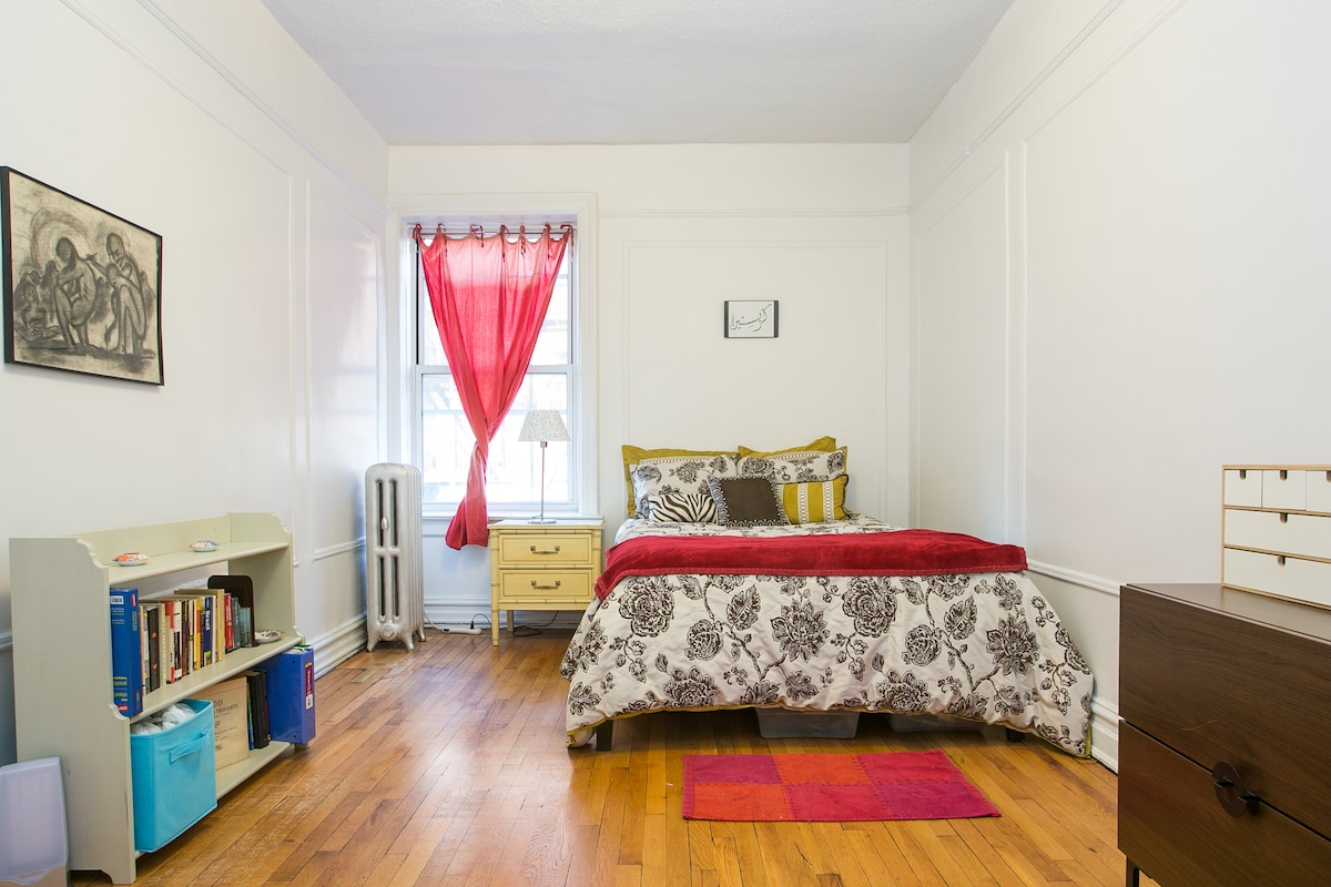 Large bedroom steps to subway