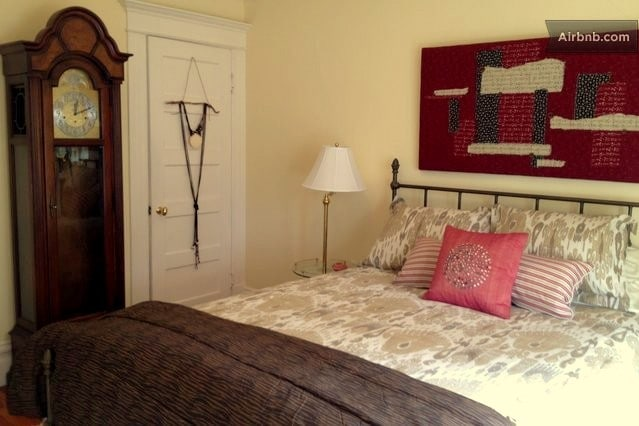 Comfortable queen bed with new mattress.