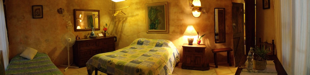 Casitas Kinsol - (website hidden) - Room #3 with hand made wood furniture - Comes with a full-size bed and a twin-size bed