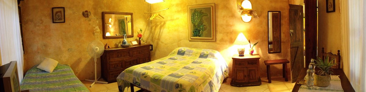 Casitas Kinsol - (website hidden) - Room #3 with hand made wood furniture - A full-size bed