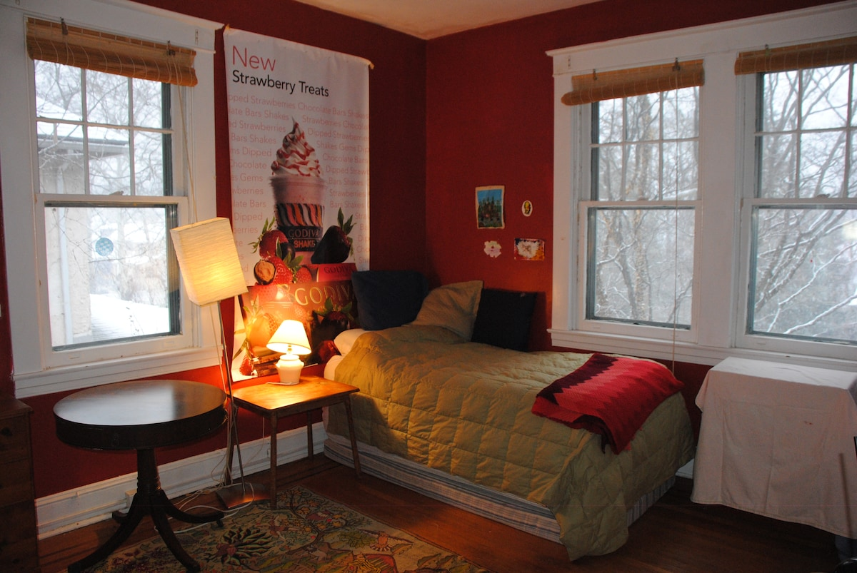 Bright room with single bed