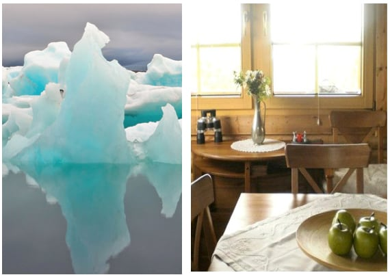 Jökulsárlón to the left and the dining area to the right