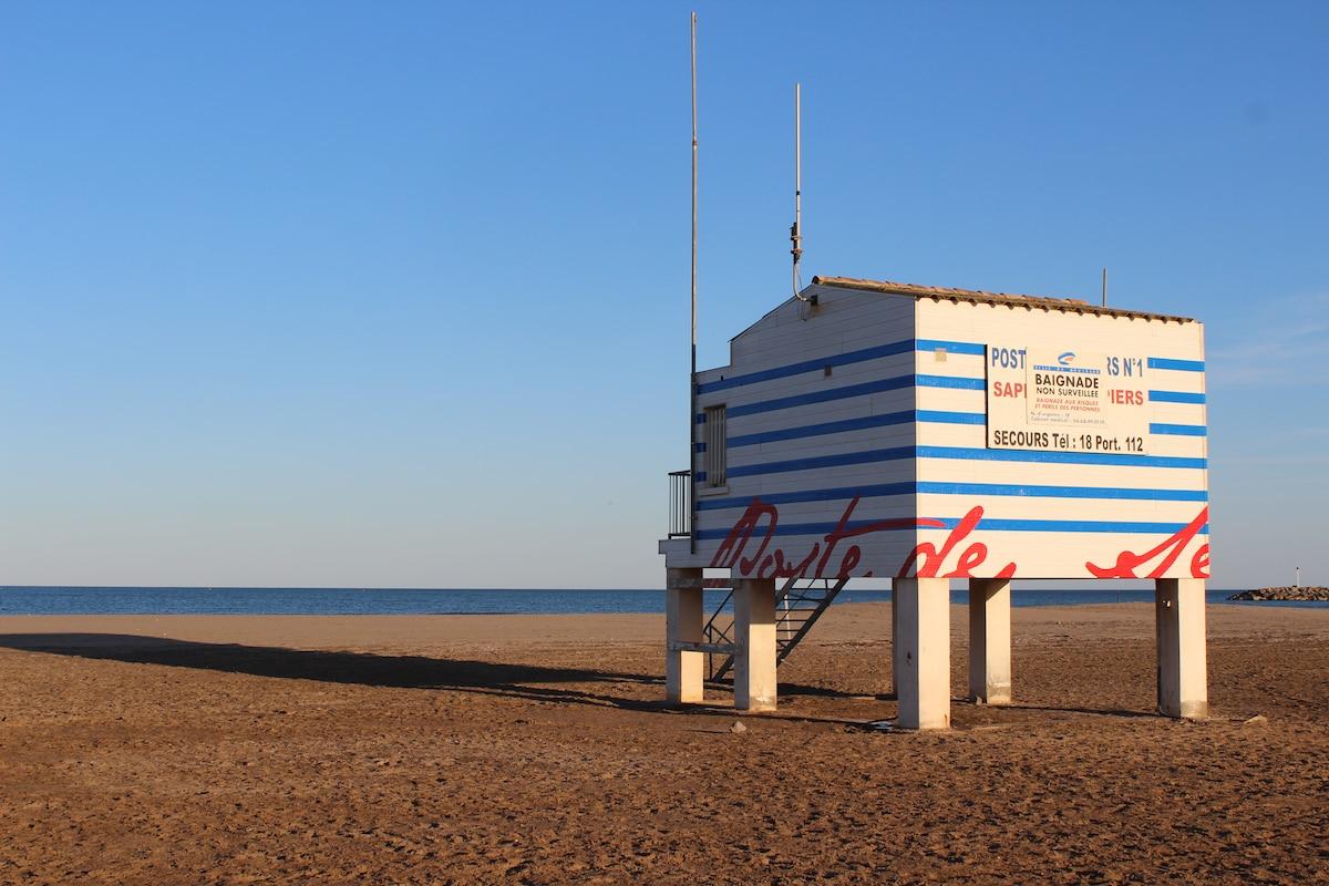 La plage devant le chalet (à 50m)