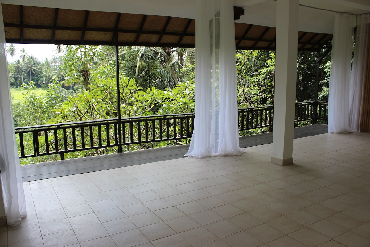 Massive yoga studio that is about 20' X 40' = 800 square feet of giant open space to bliss out in overlooking the jungle and with 3 big statues of Ganesh, Siwa, and Saraswati for photo shoots in your yoga poses!!! They are about 5 foot tall !! Floor to ce