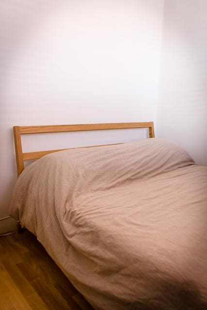 Muji double bed has pocket sprung mattress and of course, Muji linens.