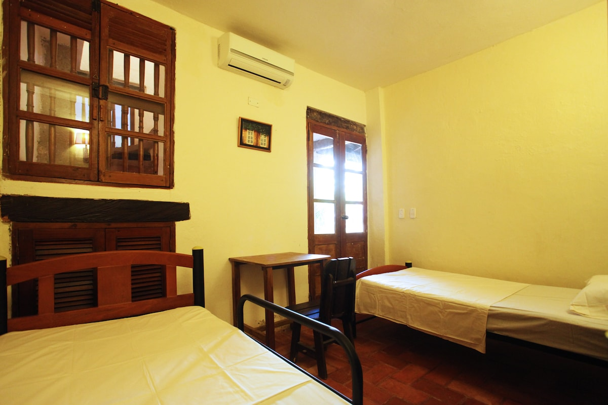 Bedroom with AC in historic center.