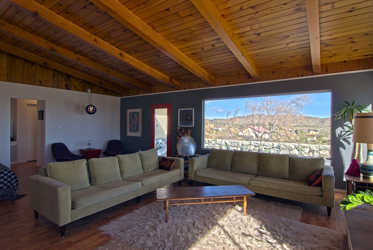 Great room looking NW over Joshua Tree Village center out huge picture window