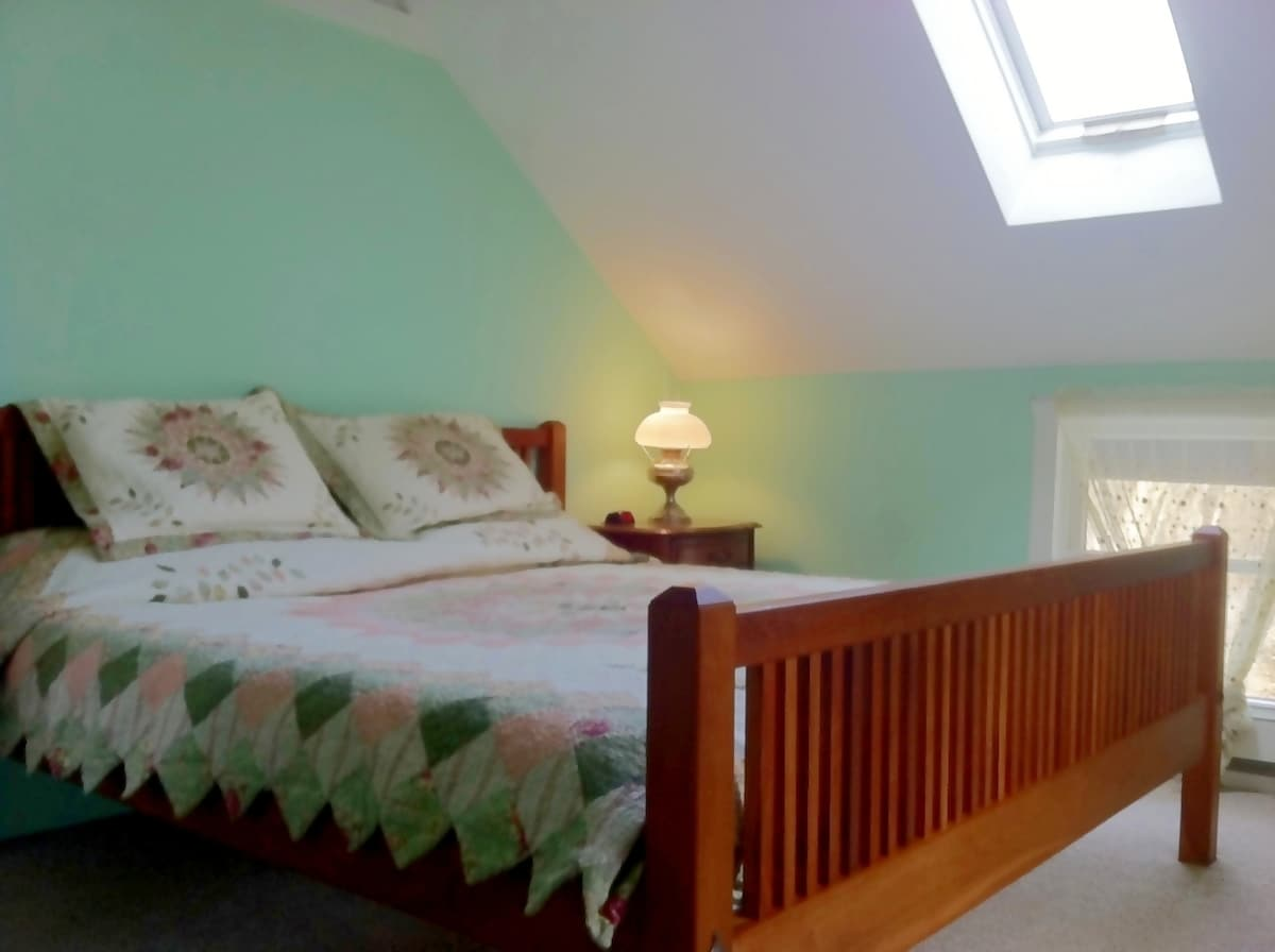 King Size Bed, cathedral ceiling, skylight bedroom.
