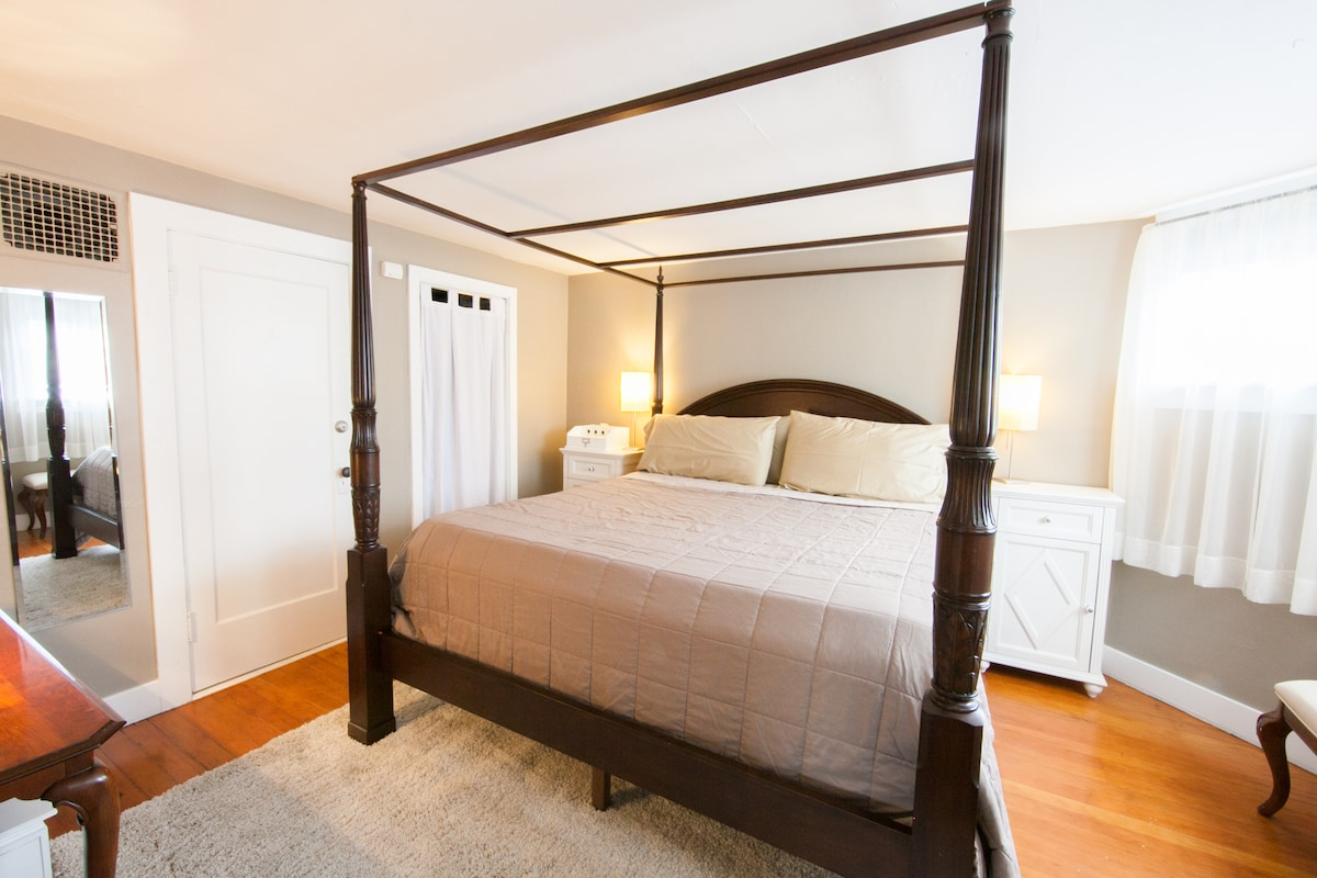 Plush king-size bed with huge master closet for all the stuff you brought.