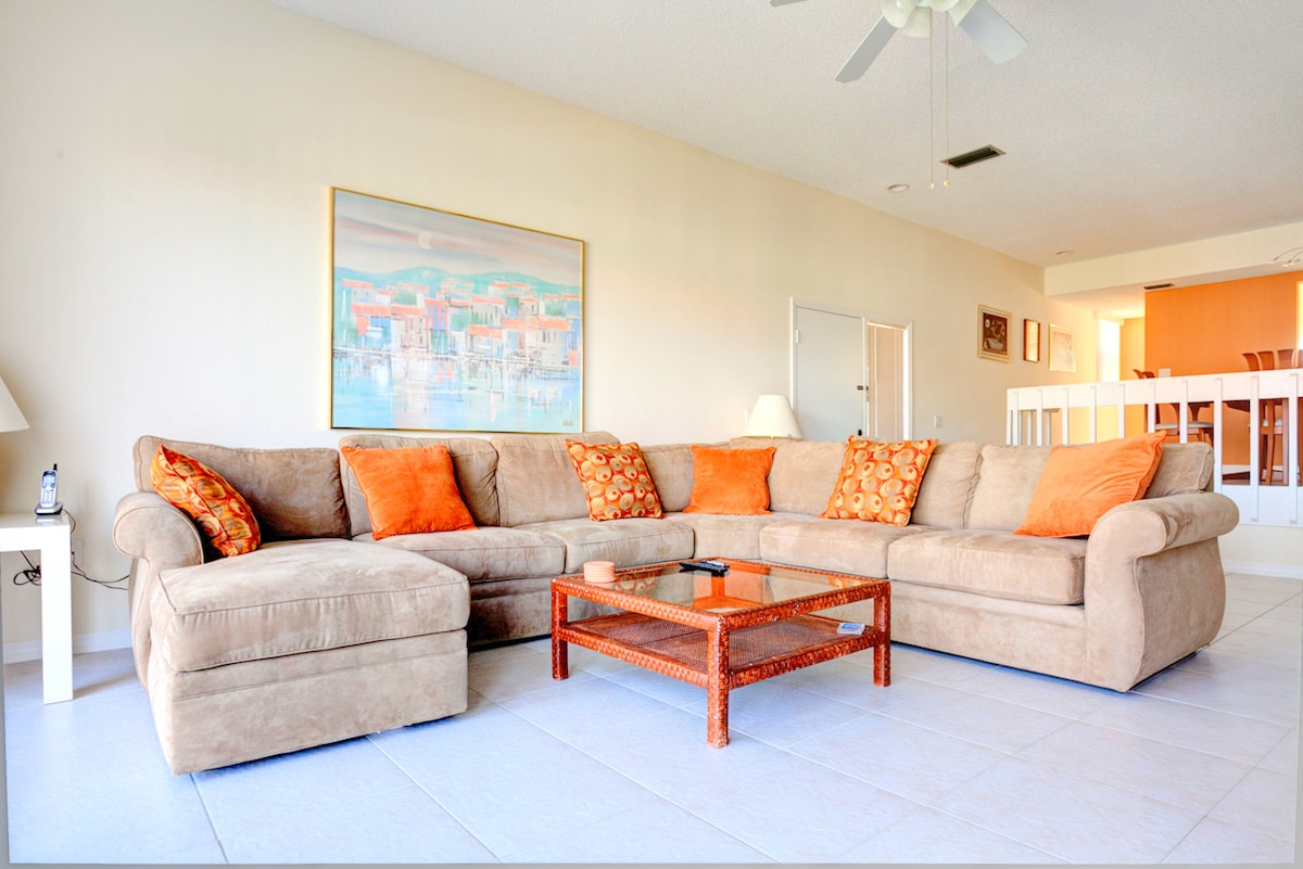Sink into our comfy sectional for a cozy night at home. Sink into our comfy sectional, put in a good movie to watch on our HDTV, and have a cozy night at home. Our House at the Beach 222 is an ideal beach vacation rental for 2-4 people.