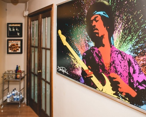 Entry hall.  Jimi Hendrix to greet you.